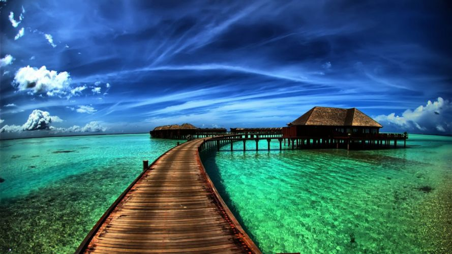water ocean houses bridges beaches wallpaper