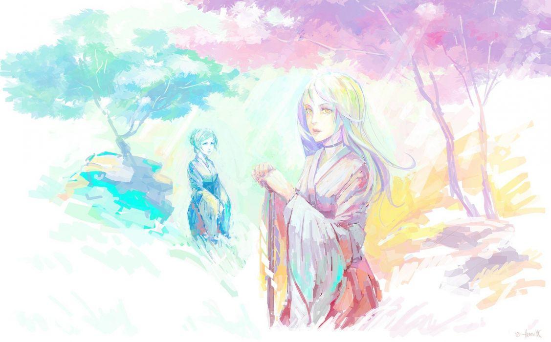 yukata watercolor Japanese clothes anime girls wallpaper