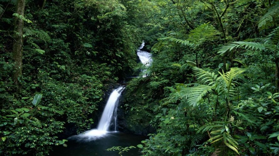 forests Costa Rica waterfalls wallpaper