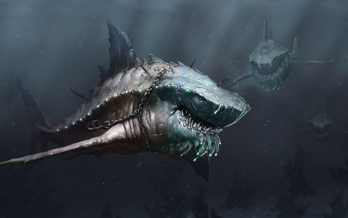 water animals fantasy art sharks wallpaper