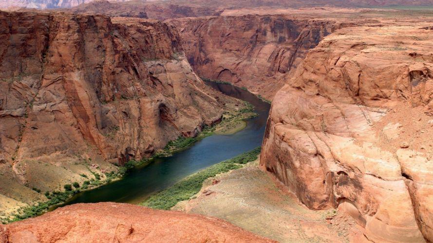 green water landscapes nature red canyon cliffs plants Arizona rivers Colorado River wallpaper