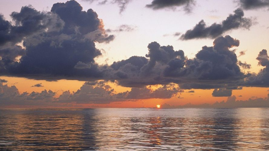sunset clouds rain Pacific Ocean skyscapes sea wallpaper