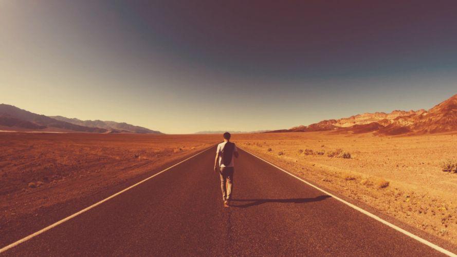 walk deserts roads wallpaper