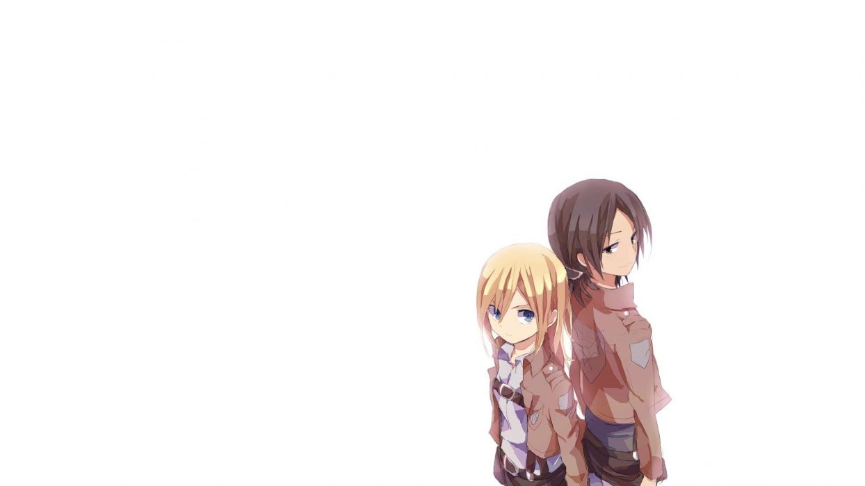 anime simple background white background Shingeki no Kyojin Christa Renz Ymir (Shingeki no Kyojin) wallpaper