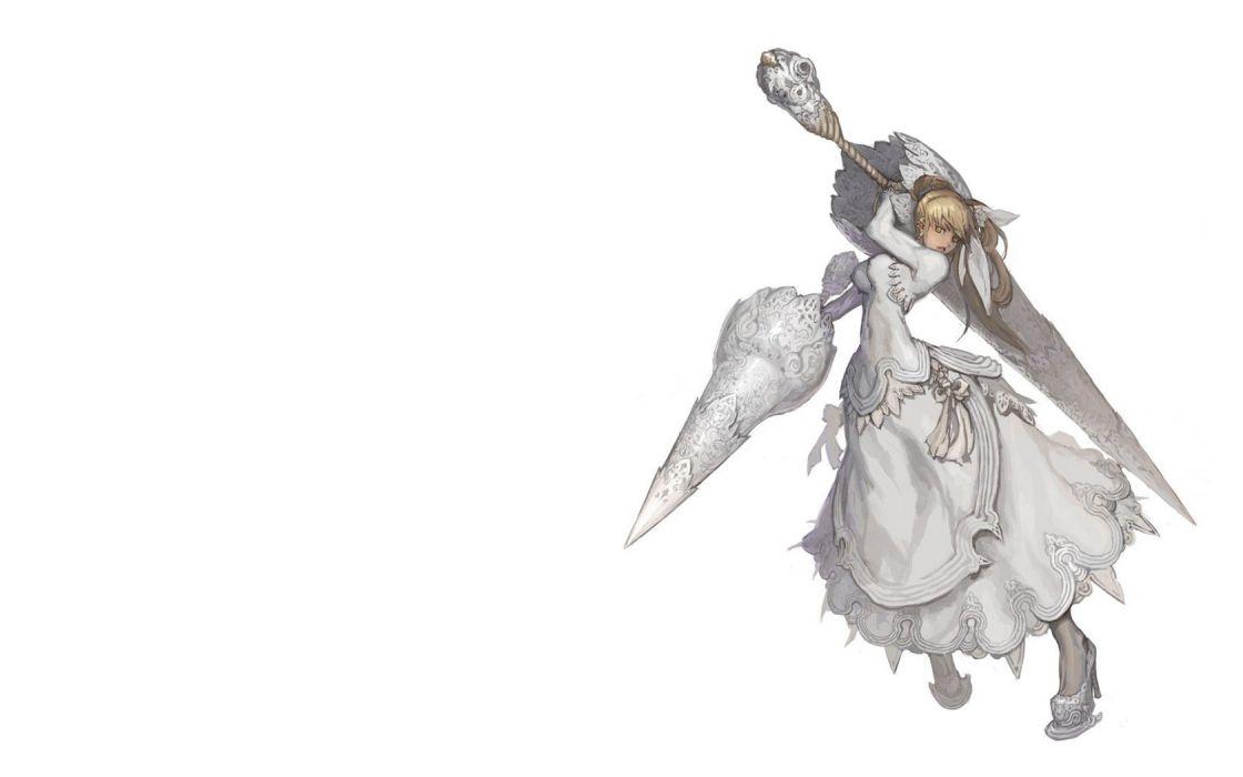 blondes dress white weapons Pixiv lance spears anime girls Weltol wallpaper