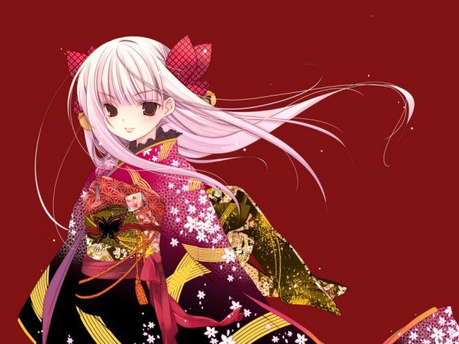 dress wind long hair kimono red eyes bows bells white hair Japanese clothes simple background anime girls red background hair ornaments butterflies Kirino Kasumu original characters wallpaper
