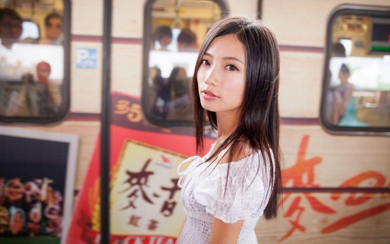 brunettes women Asians wallpaper