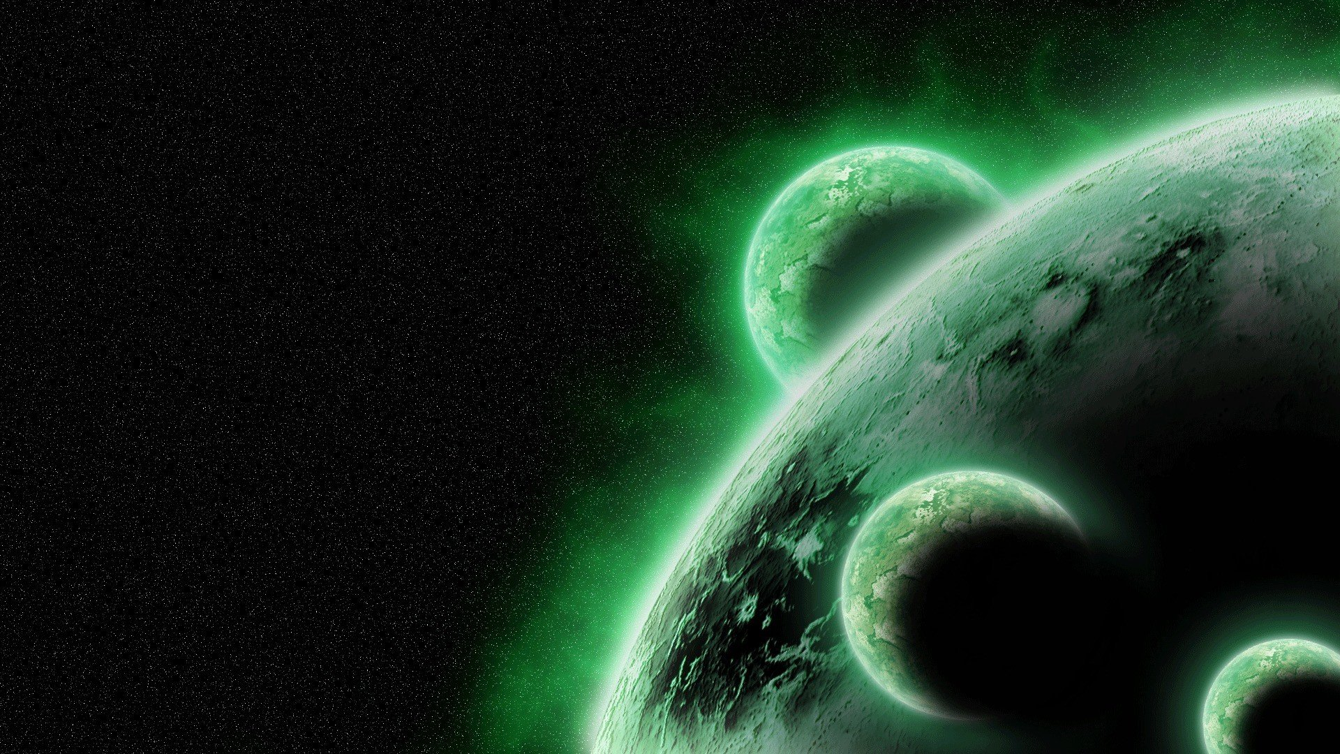 Green outer space stars planets wallpaper 1920x1080 - Space wallpaper green ...