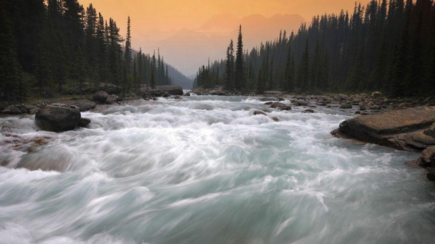 Canada Alberta parkway Banff National Park rivers National Park wallpaper