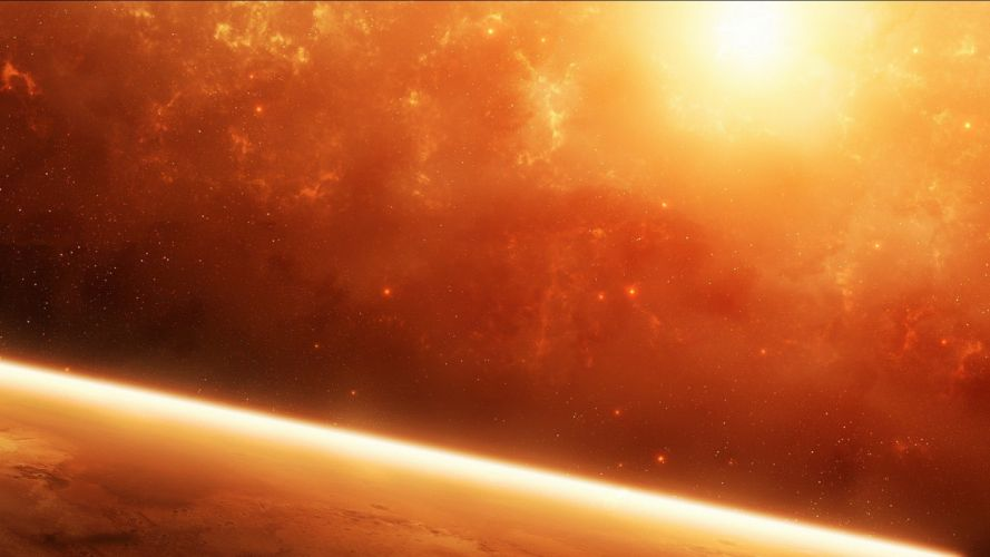 outer space stars planets orange wallpaper