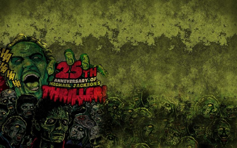 music text zombies grunge Michael Jackson thriller wallpaper