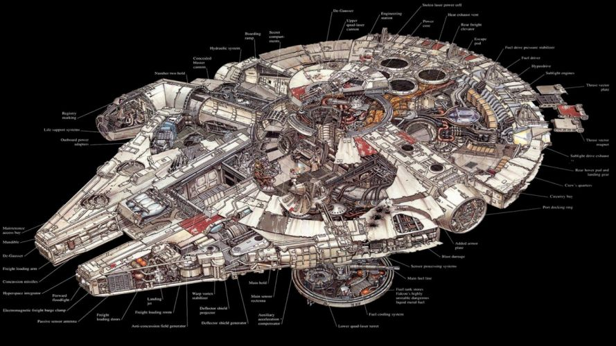 Star Wars Millennium Falcon schematic science fiction wallpaper