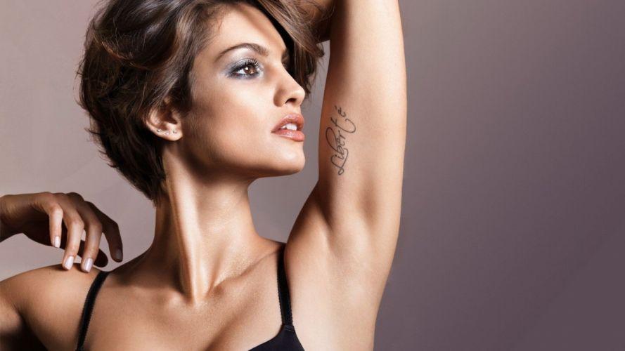 brunettes tattoos women eyes models lips wallpaper