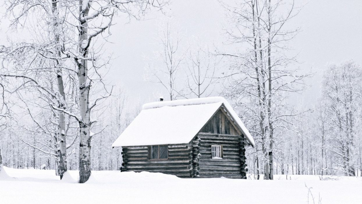 winter snow woods British Columbia cabin logs wallpaper