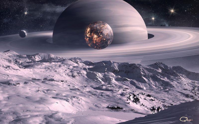 outer space planets Moon Saturn digital art science fiction QAuZ wallpaper