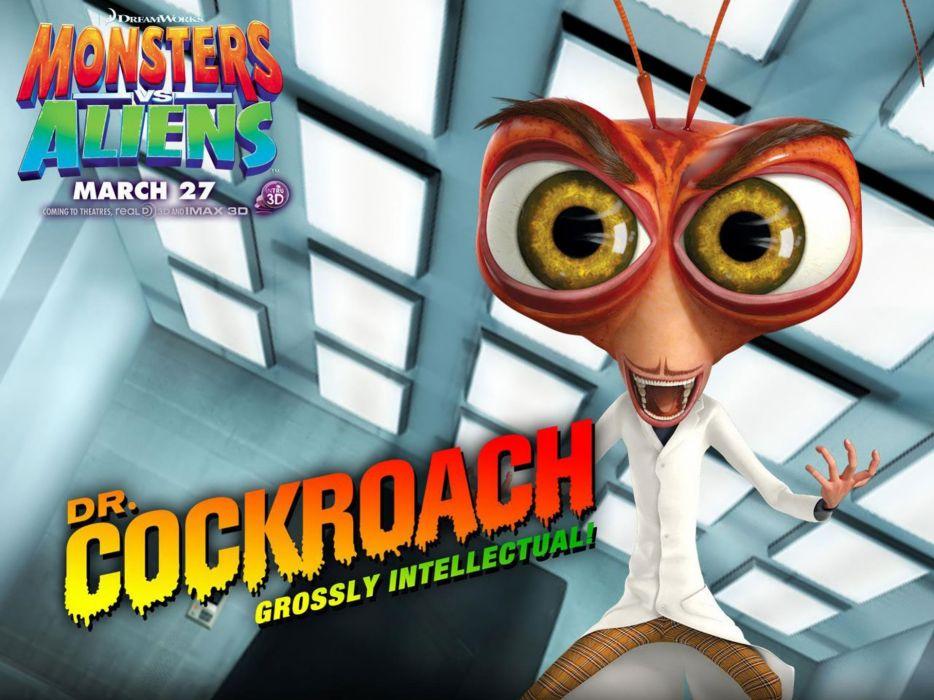 MONSTERS-VS-ALIENS cartoon animation sci-fi monsters aliens monster alien film movie (7) wallpaper