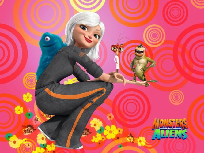 MONSTERS-VS-ALIENS cartoon animation sci-fi monsters aliens monster alien film movie (5) wallpaper