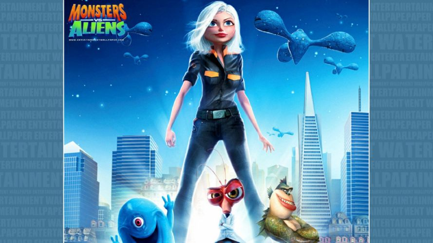 MONSTERS-VS-ALIENS cartoon animation sci-fi monsters aliens monster alien film movie (13) wallpaper