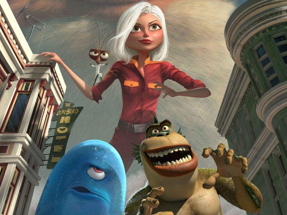 MONSTERS-VS-ALIENS cartoon animation sci-fi monsters aliens monster alien film movie (46) wallpaper