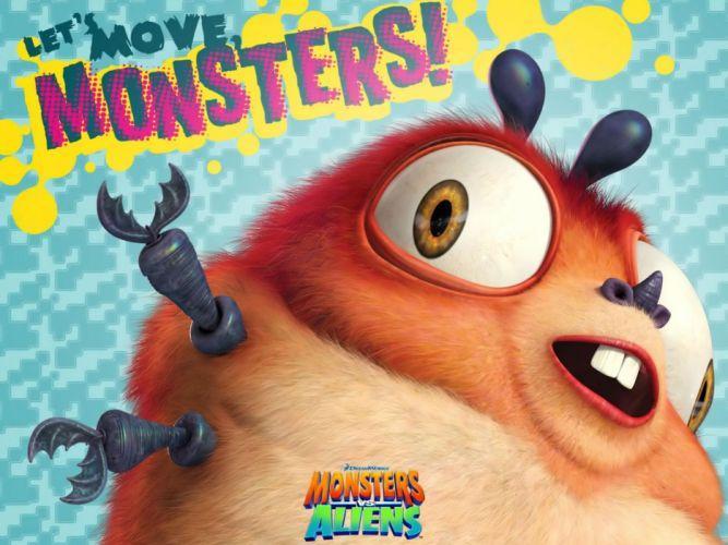 MONSTERS-VS-ALIENS cartoon animation sci-fi monsters aliens monster alien film movie (37) wallpaper