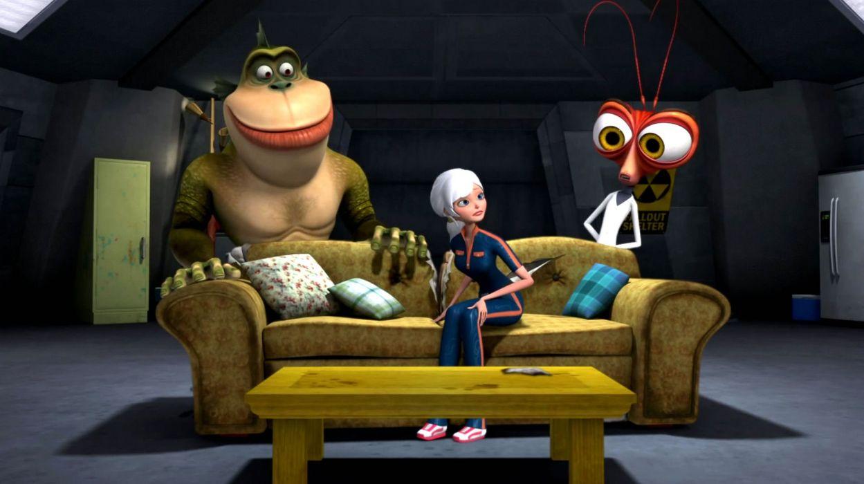 MONSTERS-VS-ALIENS cartoon animation sci-fi monsters aliens monster alien film movie (60) wallpaper