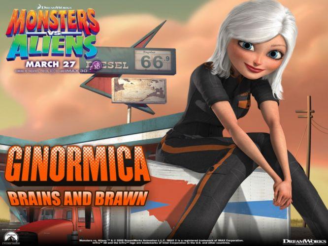 MONSTERS-VS-ALIENS cartoon animation sci-fi monsters aliens monster alien film movie (62) wallpaper