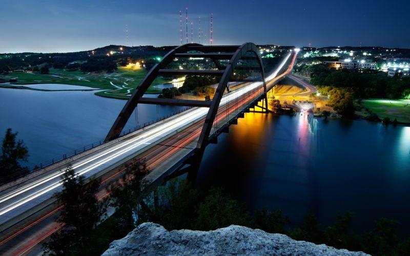 pennybacker bridge austin city cityscape night 4000x2500 wallpaper