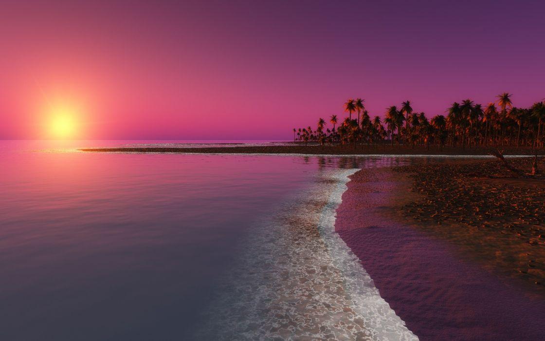 twilight sunset beach landscape 4000x2500 wallpaper