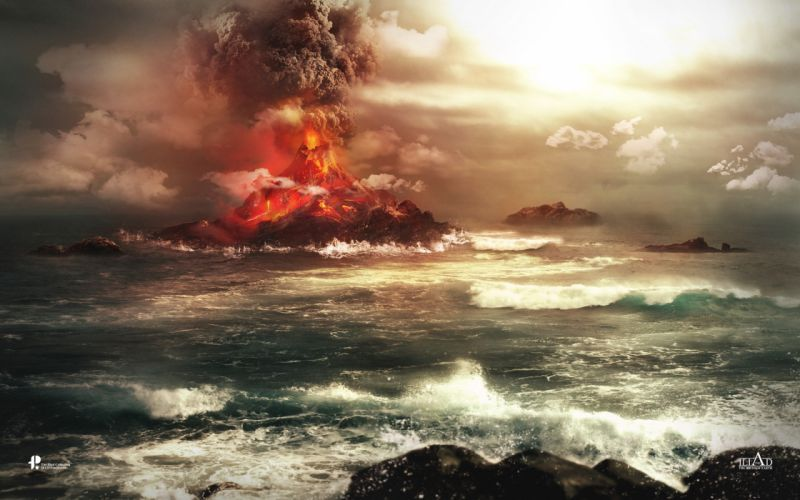 volcano sea ocean landscape 4000x2500 wallpaper