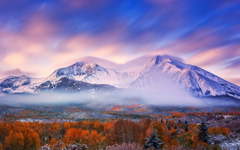 autumn mountains snow morning sky forest wallpaper