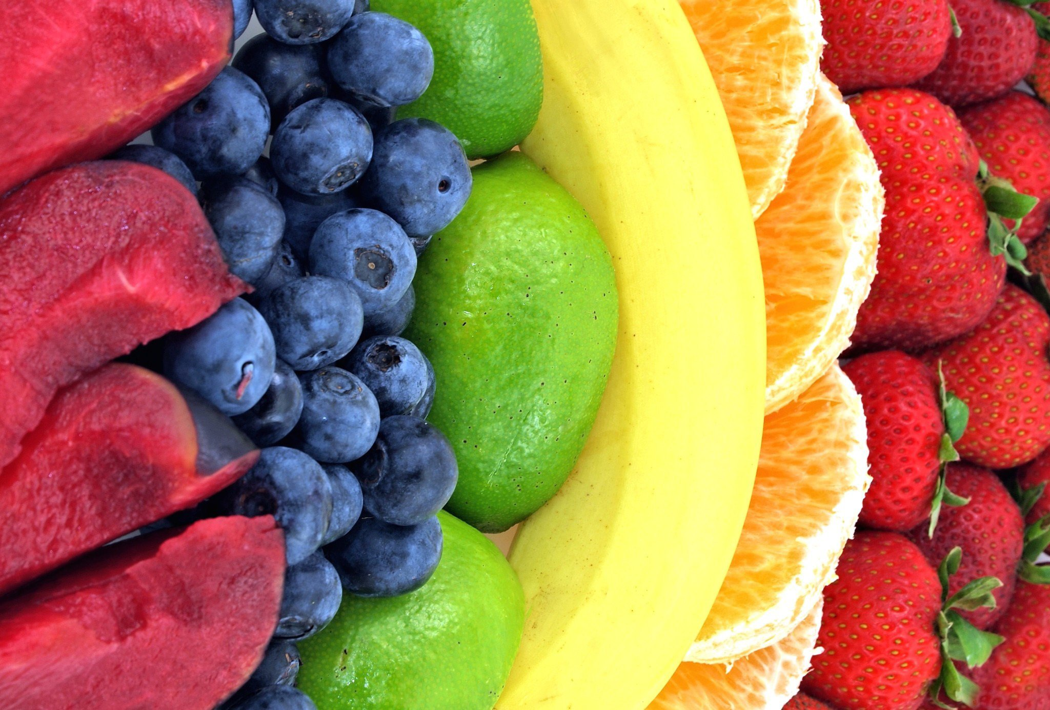 Macro Rainbow Strawberry Fruit Color Wallpaper