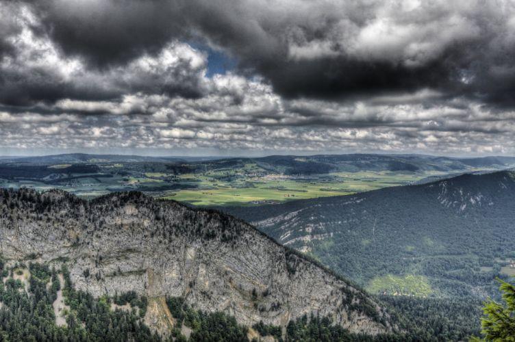 view HDR landscape rocks forest nature wallpaper