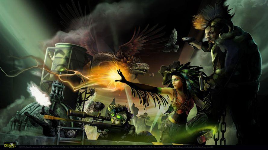 SHADOWRUN cardgame game mmo online fantasy sci-fi warrior fighting cyberpunk shooter (1) wallpaper