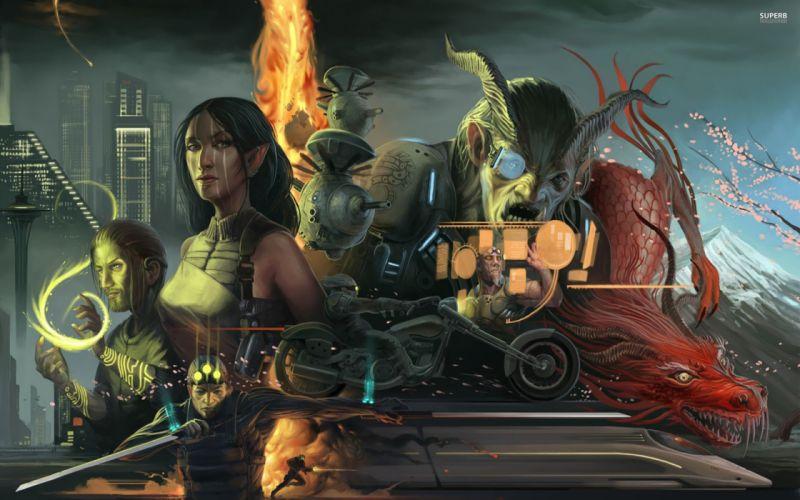 SHADOWRUN cardgame game mmo online fantasy sci-fi warrior fighting cyberpunk shooter (47) wallpaper