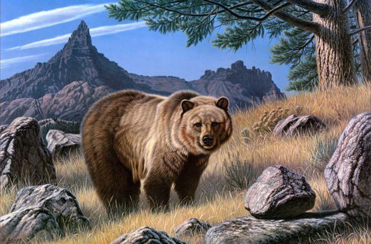 Bears Brown Painting Art Animals bear wallpaper