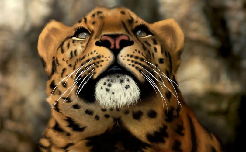 cat leopard wild art predator wallpaper
