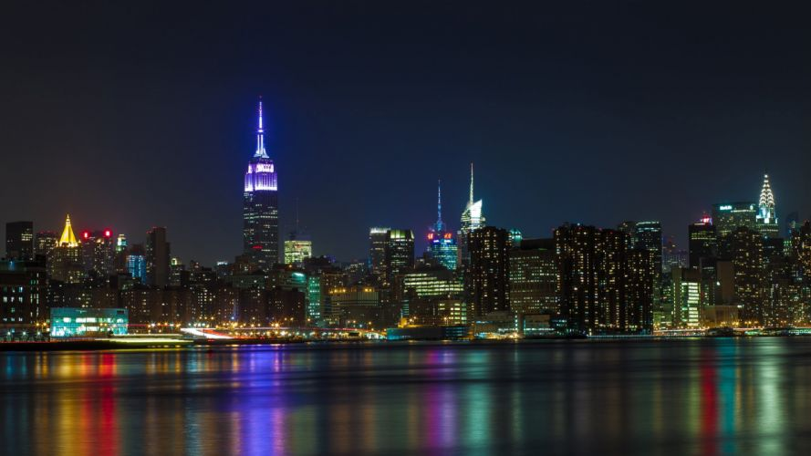 Buildings Skyscrapers New York Night Lights wallpaper