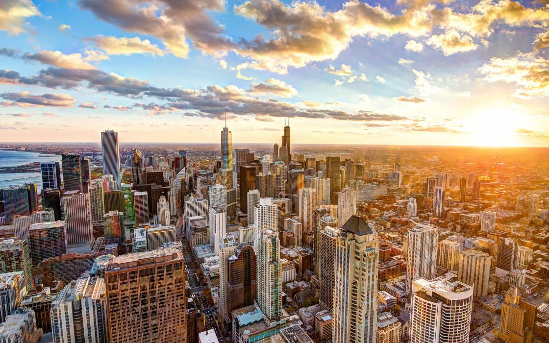 Buildings Skyscrapers Chicago Sunlight Clouds Sunset wallpaper