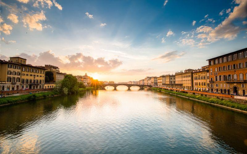 Buildings River Bridge Sunset Sunlight wallpaper