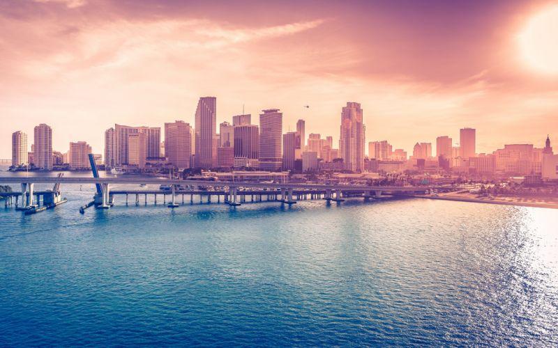 Buildings Skyscrapers Miami Bridge Ocean Coast wallpaper