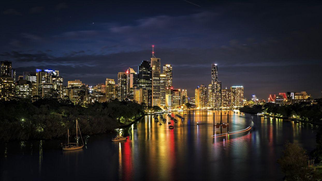 Buildings Skyscrapers Night Lights Timelapse River wallpaper
