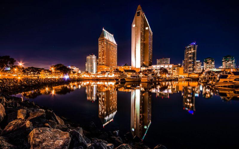 Buildings Skyscrapers Night Reflection San Diego Harbor Rocks Stones Lights wallpaper