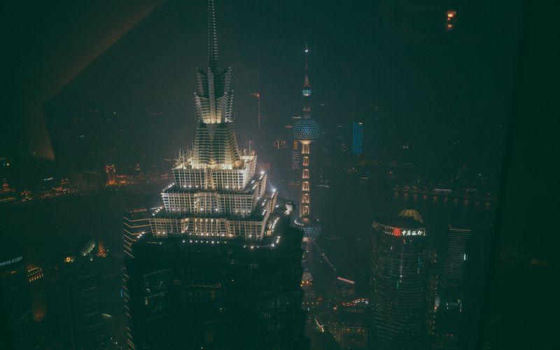Buildings Skyscrapers Night Lights t wallpaper