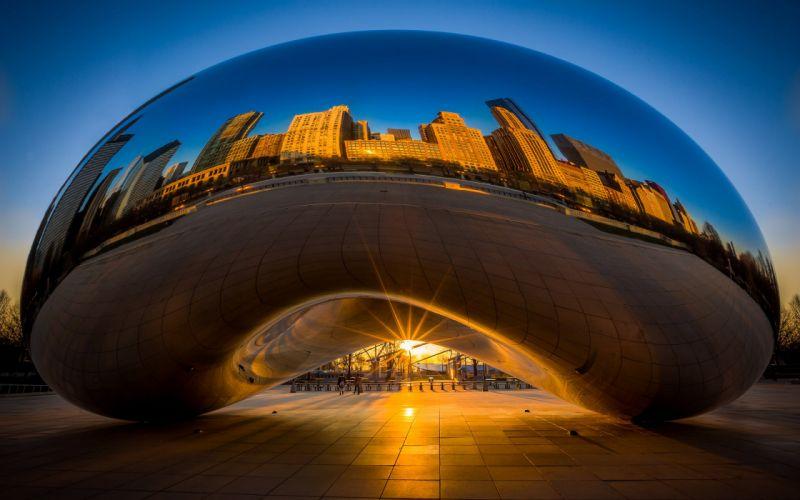 Chicago Millennium Park Reflection Buildings Skyscrapers Sunset wallpaper