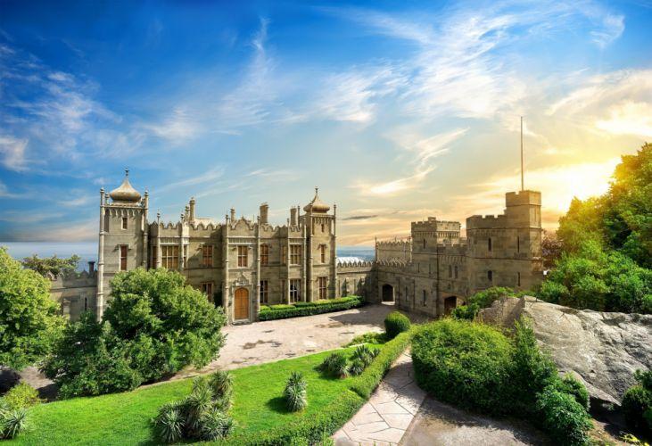 Crimea Vorontsov Palace sea summer wallpaper