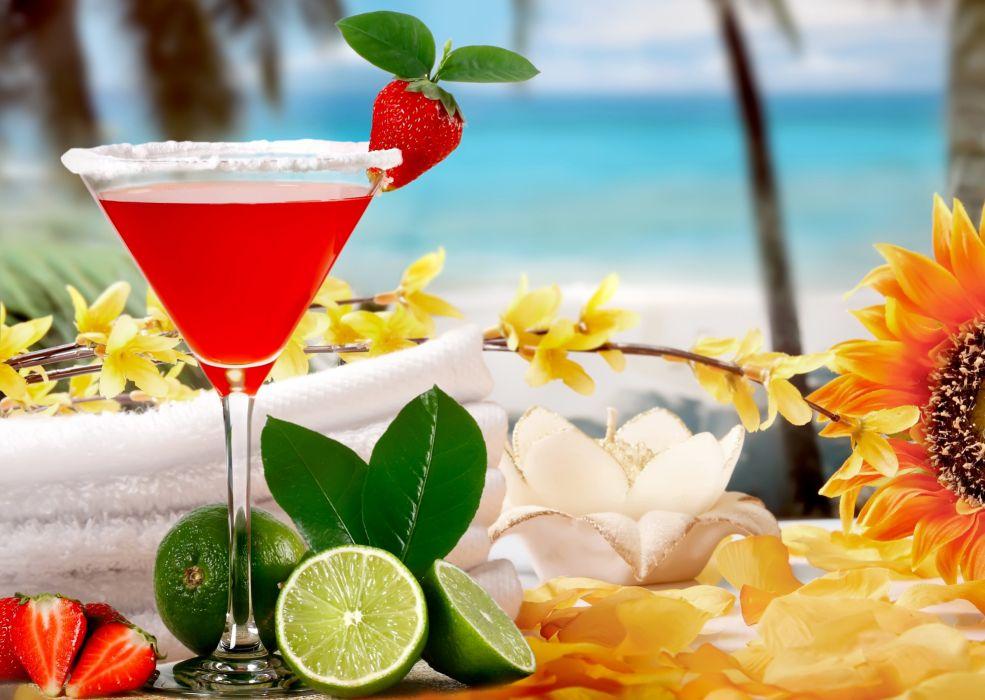 Drinks Juice Strawberry Lemons Stemware Food wallpaper