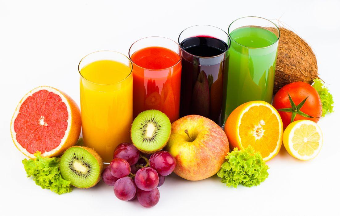 Drinks Juice Fruit Orange fruit Kiwi Apples Grapes Highball glass wallpaper