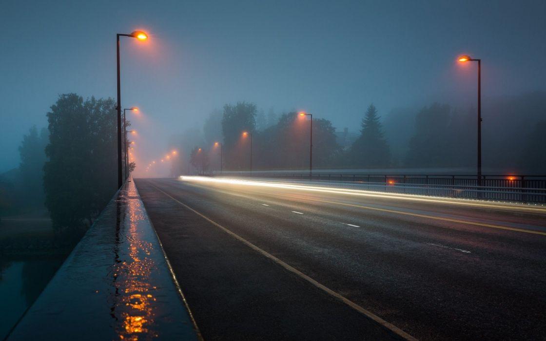 evening lights fog road wallpaper