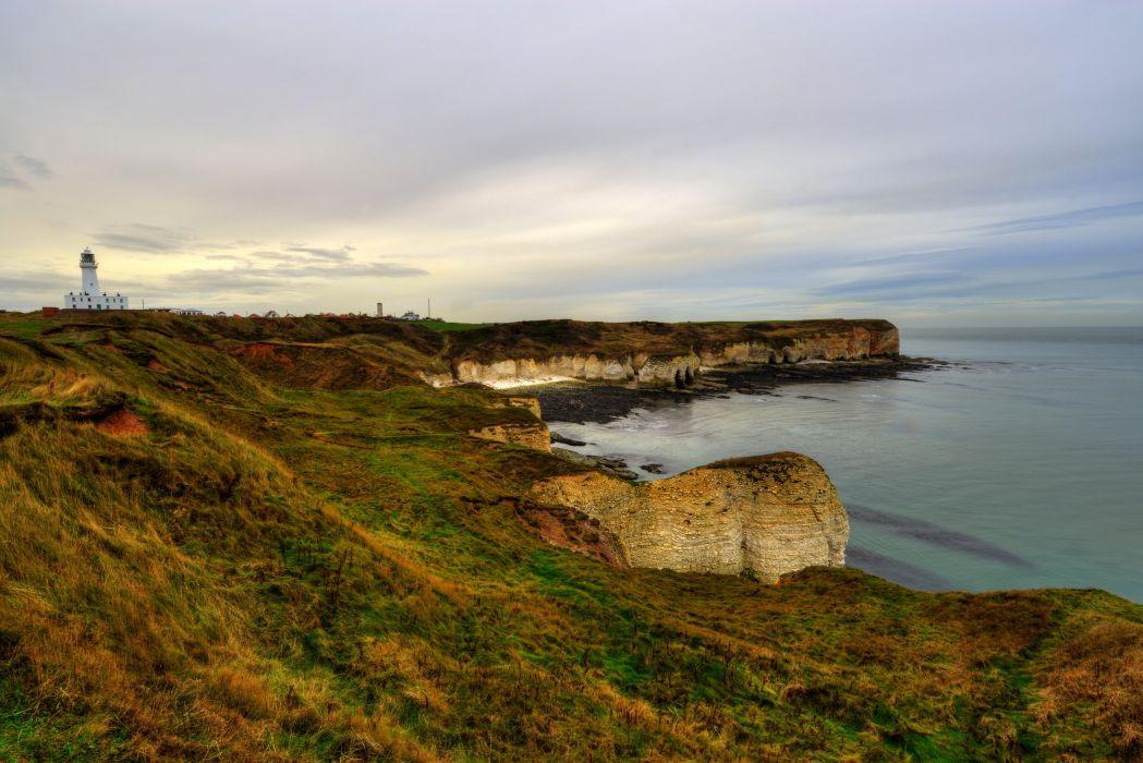 England Coast Sea Flamborough Nature lighthouse wallpaper