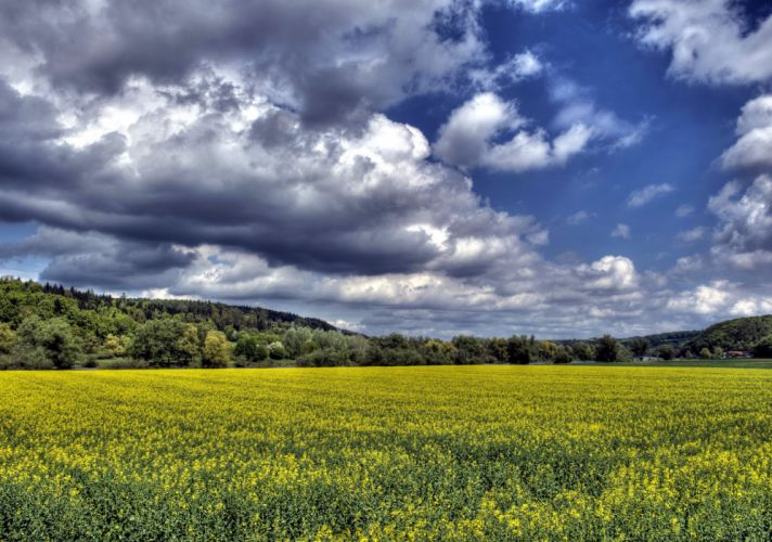 Fields Sky Scenery Clouds HDR Nature wallpaper